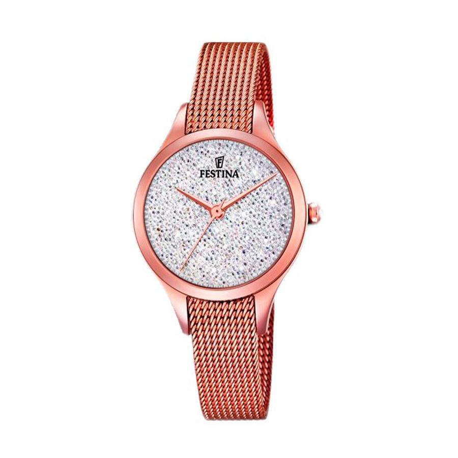 Reloj Festina Mademoiselle Mujer F20338-1 Acero rosado con esfera ornamentada con Swarovski Elements y correa malla milanesa rosada