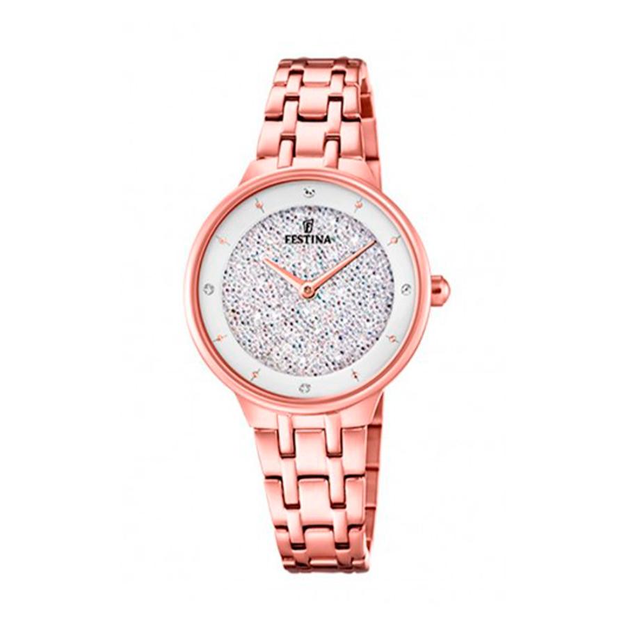 Reloj Festina Mademoiselle Mujer F20384-1 Acero esfera blanca y rosada ornamentada con cristales