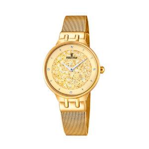 Reloj Festina Mademoiselle Mujer F20386-2 Acero dorado con esfera dorada ornamentada con Swarovski Elements y correa malla milanesa dorada