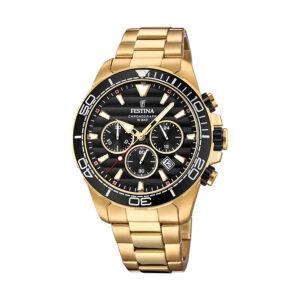 Reloj Festina Prestige Hombre F20364-3 Acero dorado esfera y bisel negro