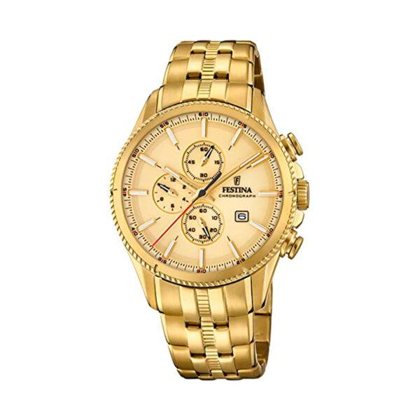 Reloj Festina Prestige Hombre F20418-1 Acero dorado con esfera dorada y detalles rojos