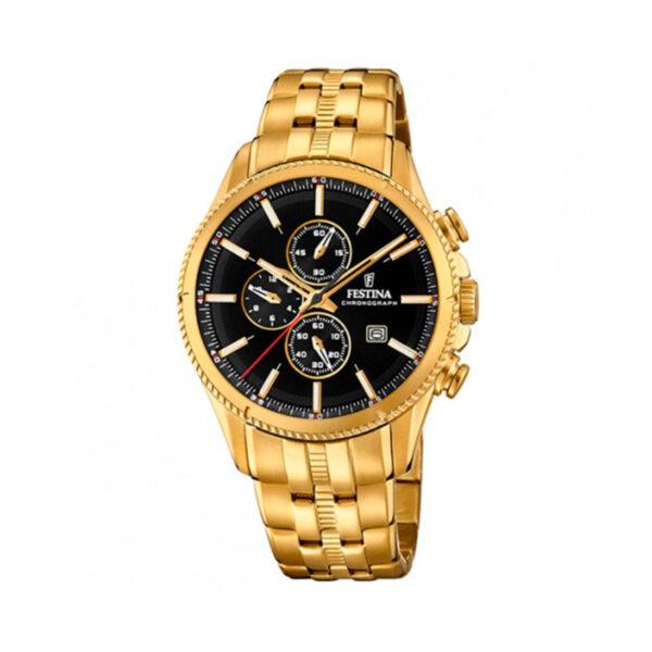 Reloj Festina Prestige Hombre F20418-3 Acero dorado esfera negra y dorada