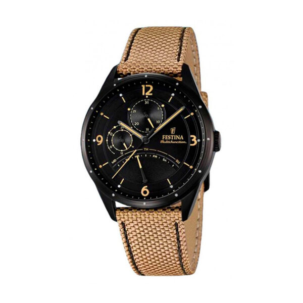 Reloj Festina Retrograde Hombre F16849-1 Acero negro esfera negra detalles beige y correa piel marrón