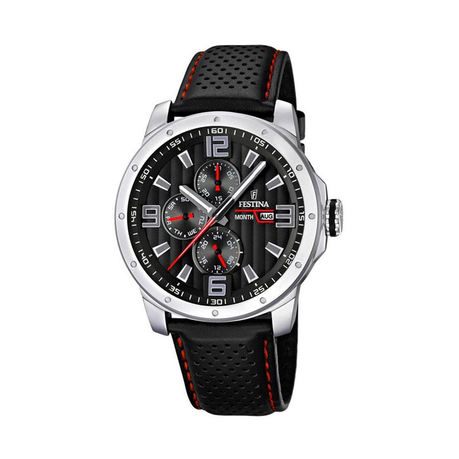 Reloj Festina Sport Hombre F16585-8 Acero esfera negra y roja con correa piel negra y pespunte rojo