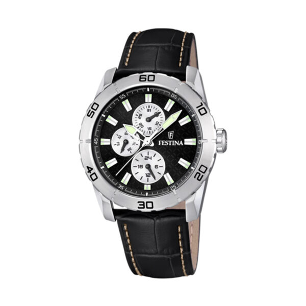 Reloj Festina Sport Hombre F16607-3 Acero esfera negra y correa piel negra
