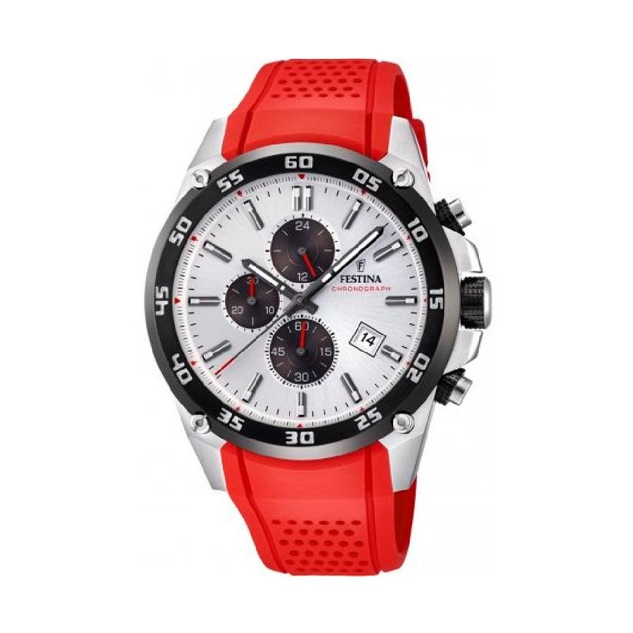 Reloj Festina The Originals Hombre F20330-1 Acero esfera plata con detalles rojos y negros y calendario con correa caucho roja