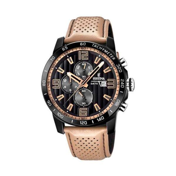 Reloj Festina The Originals Hombre F20339-1 Acero esfera negra con detalles marrones y correa piel marrón