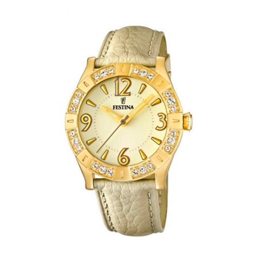Reloj Festina Trend Golden Dream Mujer F16580-2 Acero dorado esfera amarilla con bisel ornamentado con circonitas y correa piel beige