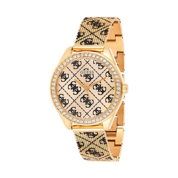 Reloj Guess Claudia Mujer W1279L2 Acero dorado con piedras en el bisel y correa malla con logo en negro