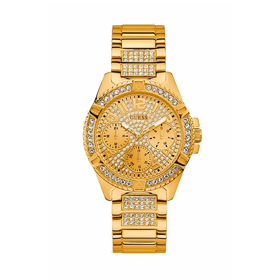 Reloj Guess Frontier Mujer W1156L2 Dorado con piedras en el bisel y correa