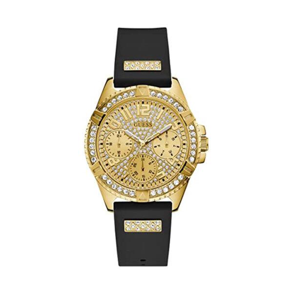 Reloj Guess Frontier Mujer W1160L1 Dorado multifunción con piedras en esfera y bisel y correa de silicona con motivos decorados con piedras incrustadas