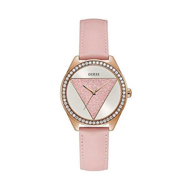 Reloj Guess Glitz Mujer W0884L6 Dorado con piedras en el bisel y correa de piel rosa