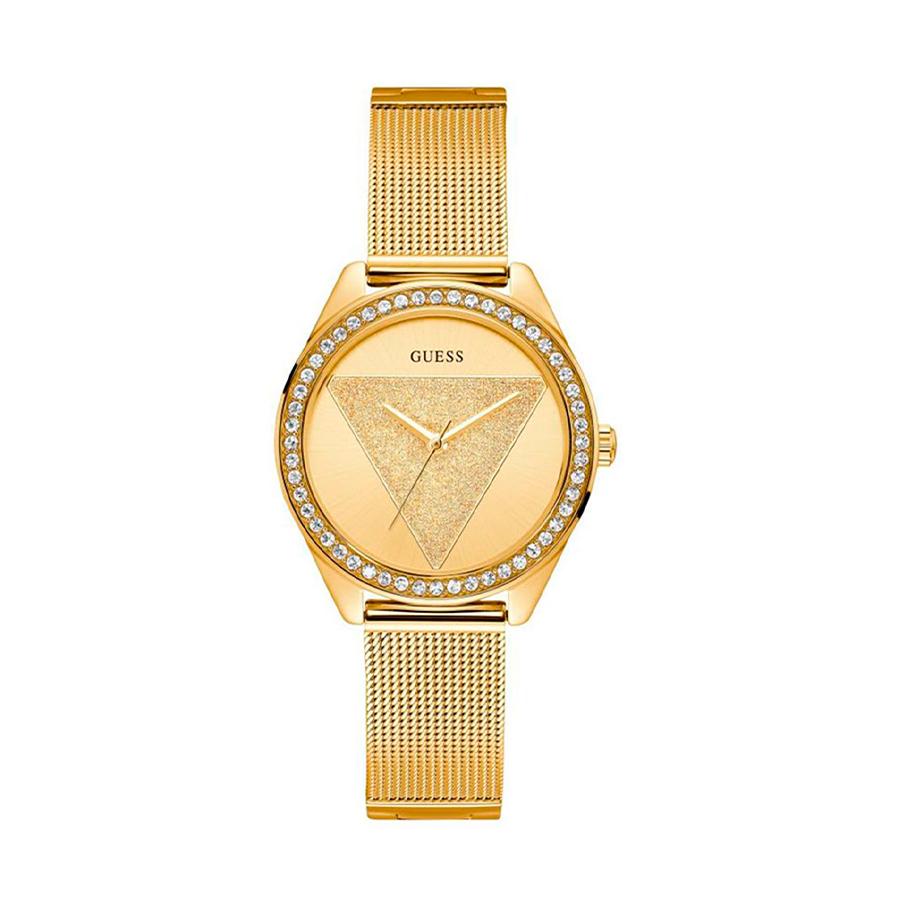 Reloj Guess Glitz Mujer W1142L2 Dorado con piedras en el bisel y correa malla milanesa