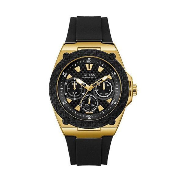 Reloj Guess Legacy Hombre W1049G5 Dorado con correa silicona negra