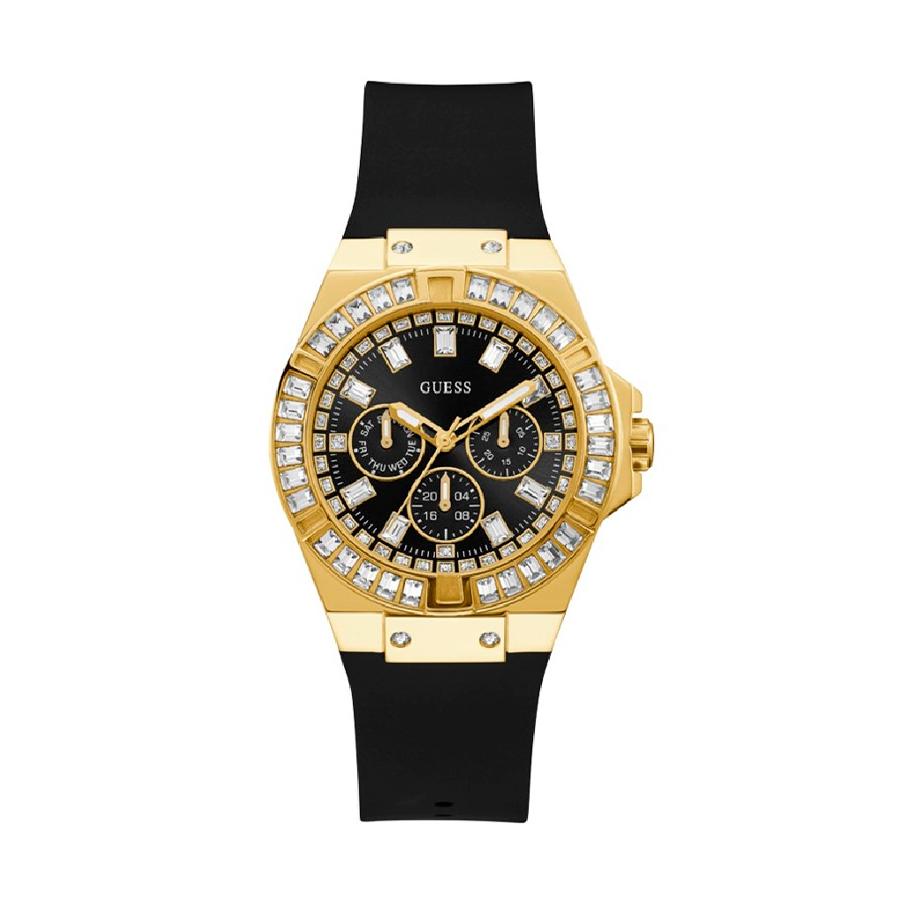Reloj Guess Venus  Mujer GW0118L1 Dorado con piedras en el bisel y correa silicona negra