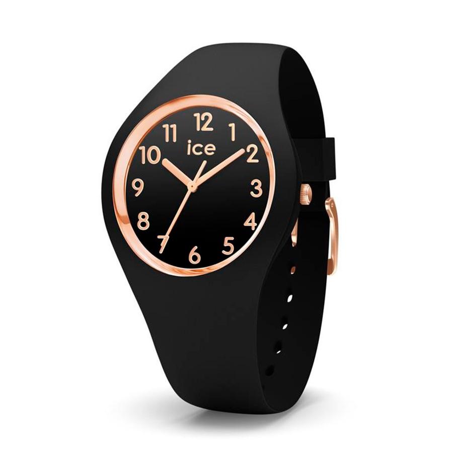 Reloj Ice Glam   Mujer IC014760 Acero esfera negra detalles rosados con correa silicona negra