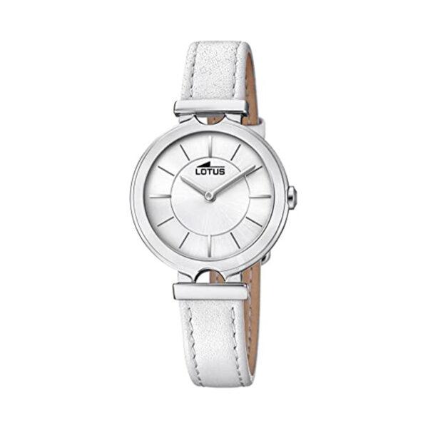 Reloj Lotus Bliss Mujer 18451-1 Acero con esfera plata y correa piel blanca