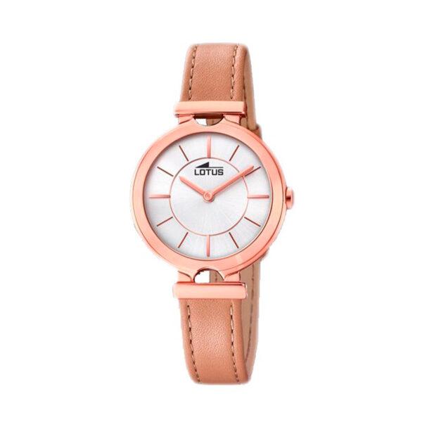 Reloj Lotus Bliss Mujer 18453-1 Acero rosado con esfera blanca y correa piel marrón