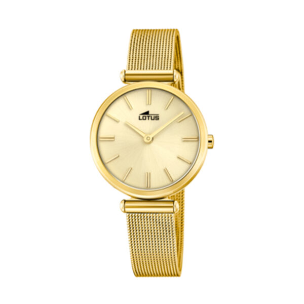 Reloj Lotus Bliss Mujer 18539-1 Acero dorado esfera dorada y correa malla milanesa dorada