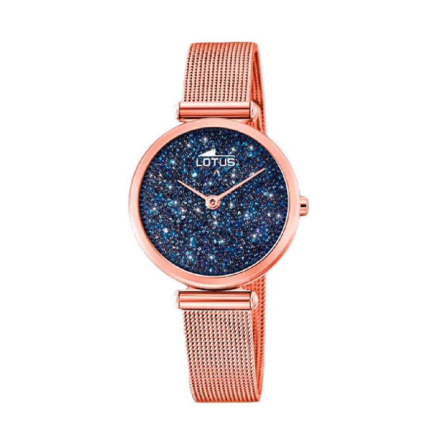 Reloj Lotus Bliss Mujer 18566-2 Acero rosado con esfera ornamentada con Swarovski Elements y corre malla milanesa rosada