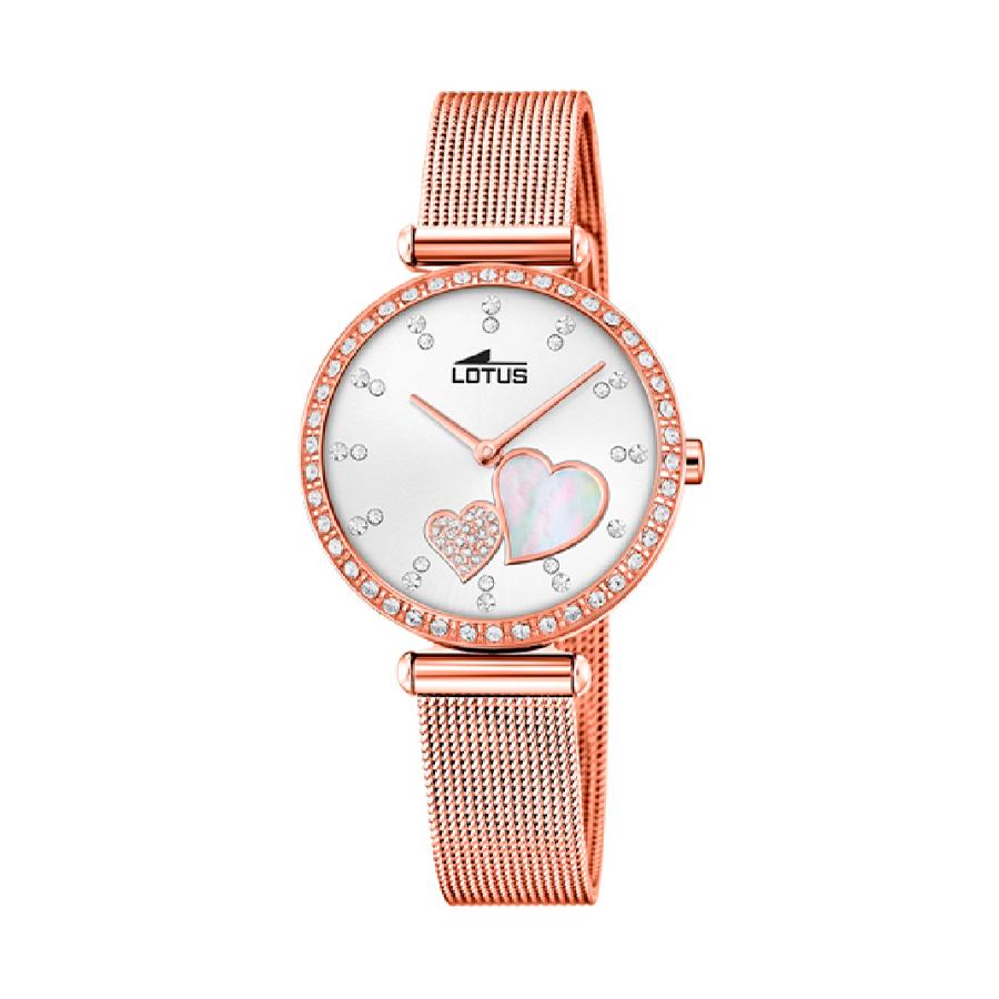 Reloj Lotus Bliss Mujer 18620-1 Acero rosado con esfera y y bisel ornamentados con Swarovski Elements y correa malla milanesa rosada