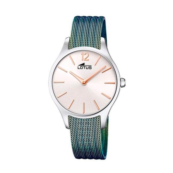Reloj Lotus Bliss Mujer 18749-1 Esfera blanca con correa malla milanesa en acero verde
