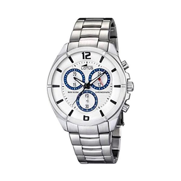 Reloj Lotus Chrono Hombre 10123-1 Acero con esfera blanca y detalles azules