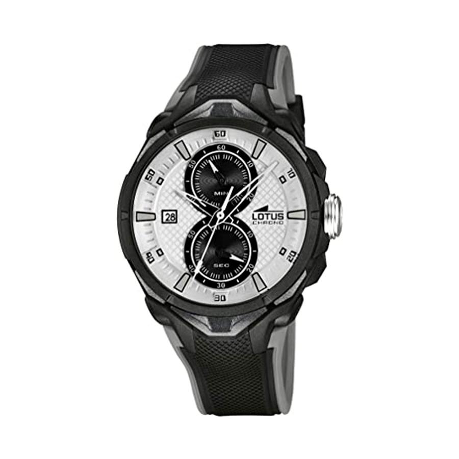Reloj Lotus Chrono Hombre 18107-1 Acero negro con esfera blanca y negra y correa caucho negro