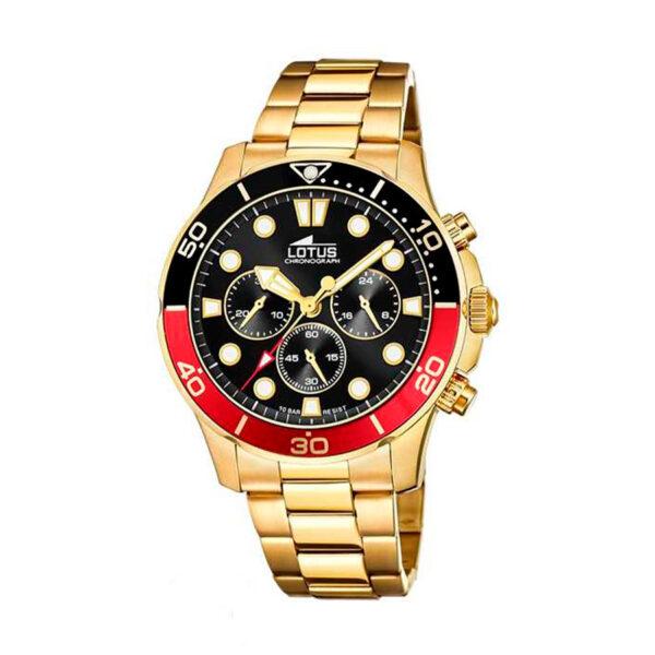 Reloj Lotus Excellent Hombre 18758-6 Acero dorado esfera negra y roja