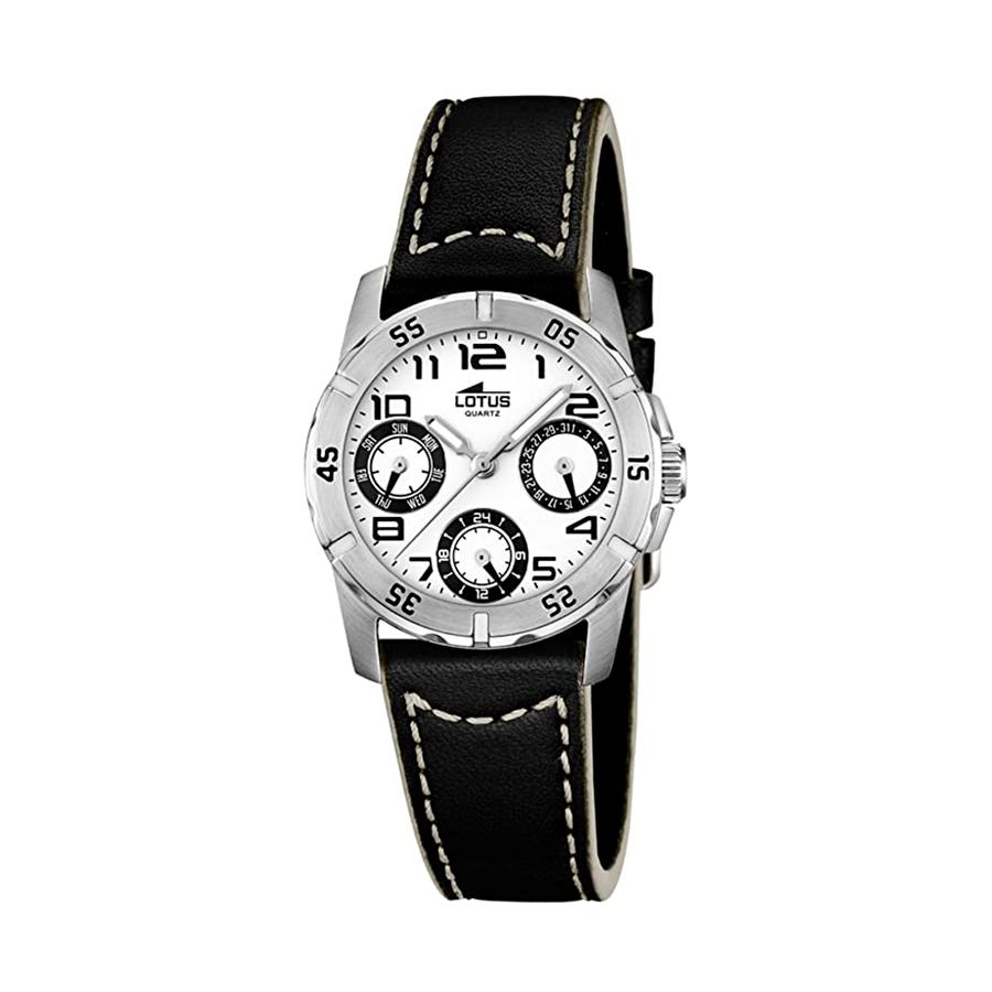 Reloj Lotus Junior Hombre 15947-A Acero esfera blanca y correa piel negra