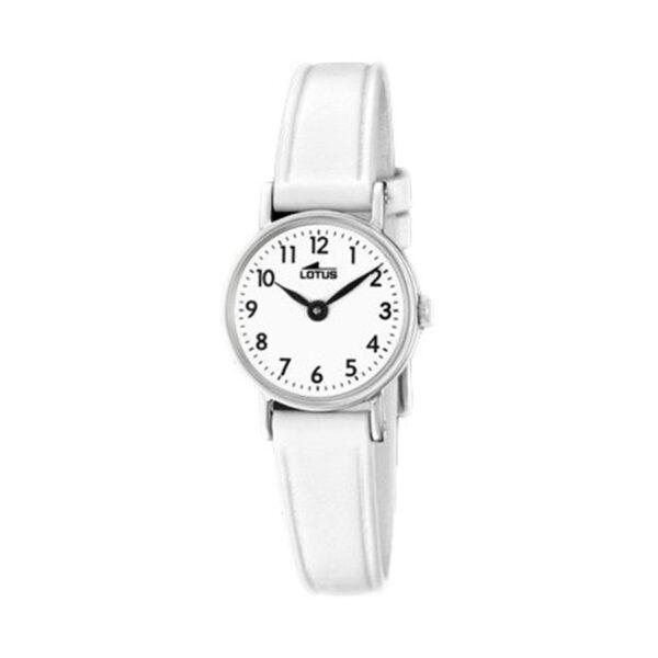 Reloj Lotus Junior Mujer 18409-1 Acero con esfera blanca y correa piel blanca
