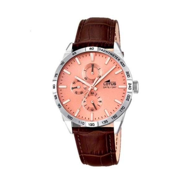 Reloj Lotus Multifunción Hombre 18219-2 Acero esfera rosada y correa piel marrón