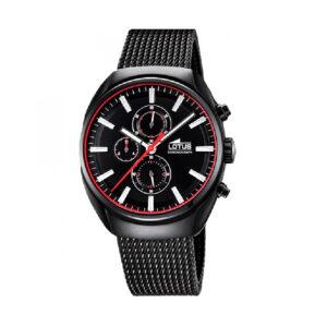 Reloj Lotus Smart Hombre 18567-E Acero negro esfera negra detalles rojos y blancos con correa malla milanesa negra