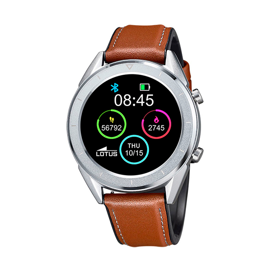 Reloj Lotus SmartWatch Hombre 50008-1 Acero con correa piel marrón