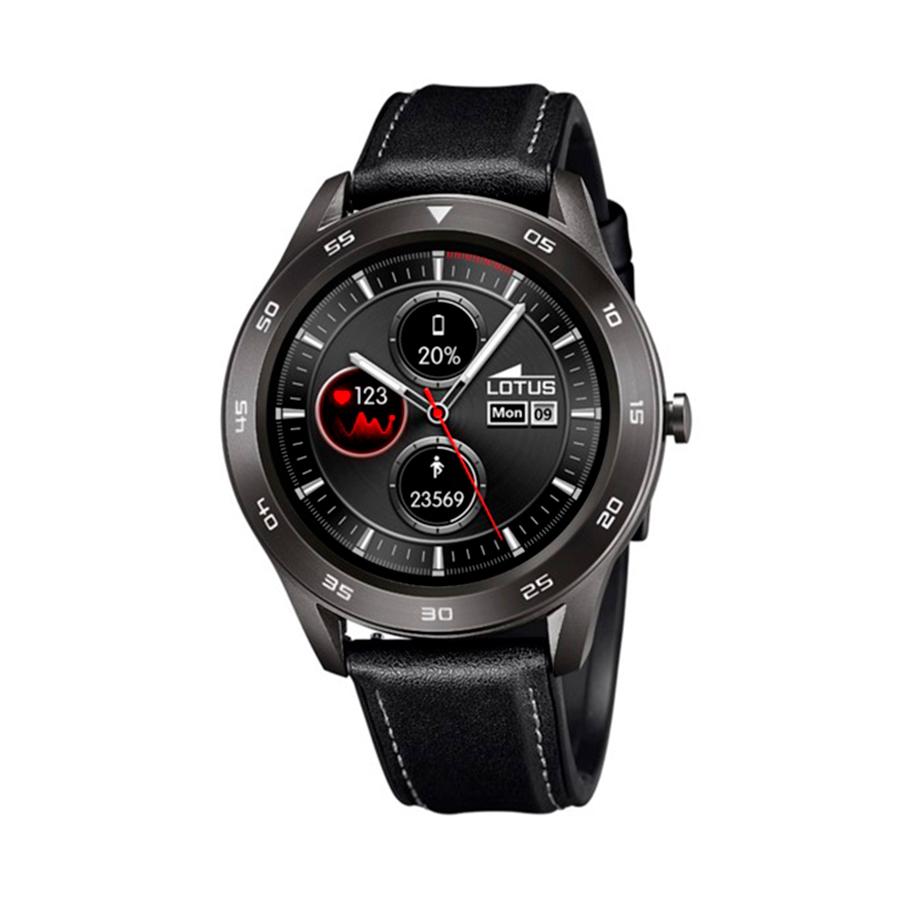 Reloj Lotus SmartWatch Hombre 50012-3 Acero negro con correa piel negroy pespunte gris