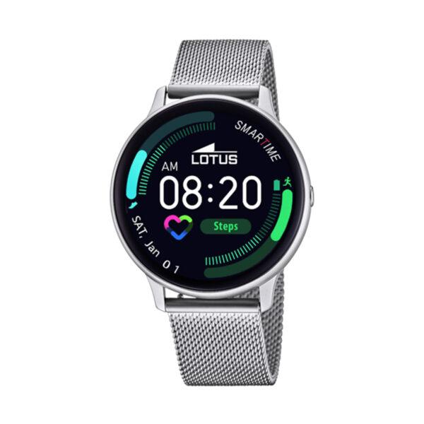 Reloj Lotus SmartWatch Hombre 50014-1 Acero con correa malla milanesa acero con correa adicional de silicona en color gris