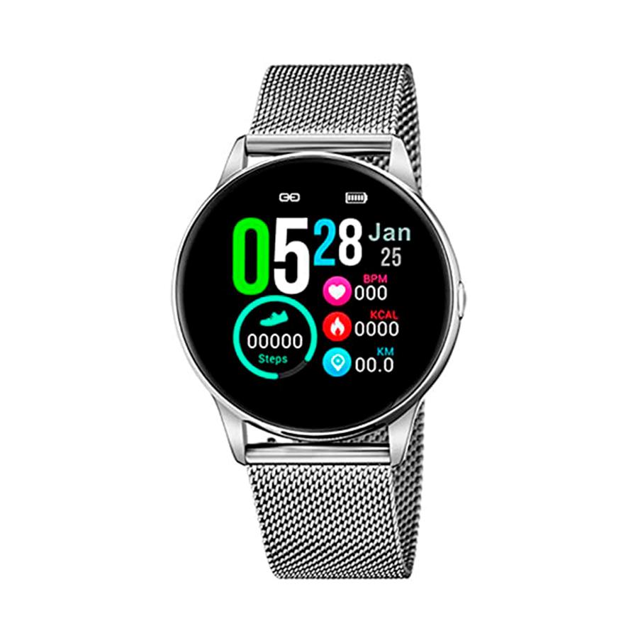Reloj Lotus SmartWatch Unisex 50000-1 Acero con correa malla milanesa plata y correa silicona blanca adicional