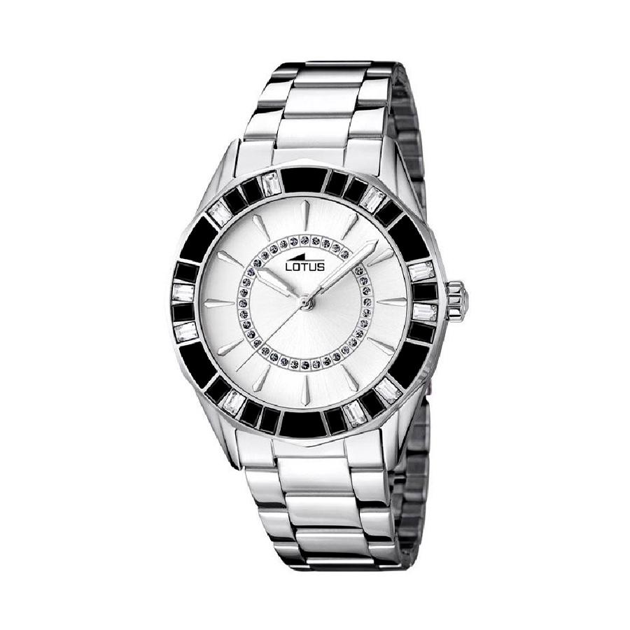 Reloj Lotus Trendy Mujer 15891-1 Acero con esfera plata y cristales blancos y negros