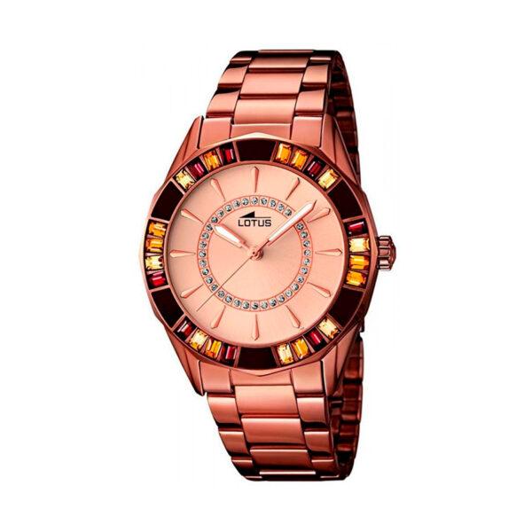 Reloj Lotus Trendy Mujer 15894-2 Acero rosado esfera rosada con cristales y bisel ornamentado con cristales marrones