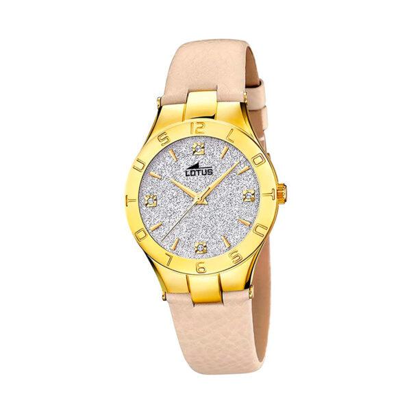 Reloj Lotus Trendy Mujer 15900-3 Acero dorado esfera decorada con glitz palta y correa piel beige