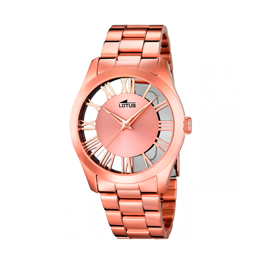 Reloj Lotus Trendy Mujer 18124-1 Acero rosado con esfera semi transparente e índices romanos
