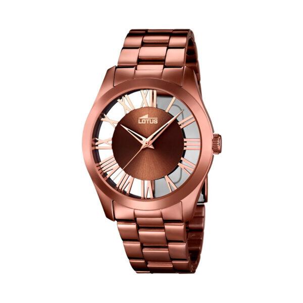 Reloj Lotus Trendy Mujer 18125-1 Acero marrón con esfera semi transparente e índices romanos