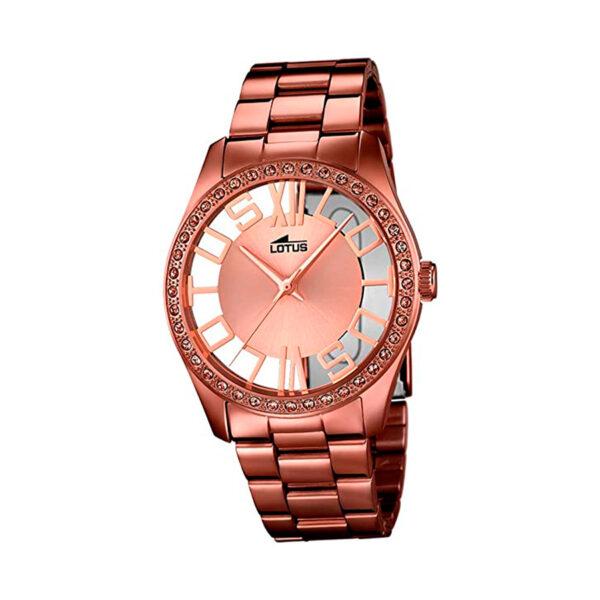 Reloj Lotus Trendy Mujer 18129-1 Acero marrón con esfera rosada y cristales marrones en bisel