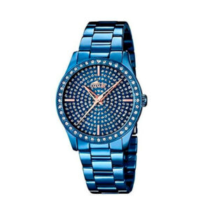 Reloj Lotus Trendy Mujer 18254-1 Acero azul y esfera azul ornamentada con cristales y agujas en rosado