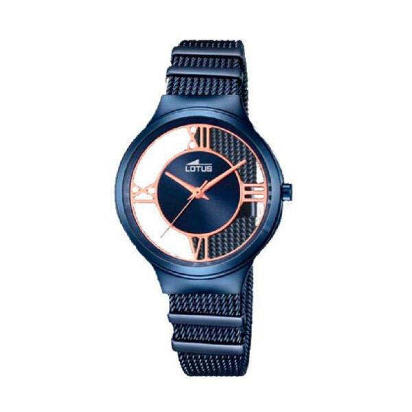 Reloj Lotus Trendy Mujer 18334-1 Acero azul con esfera semi transparente con detalles rosados