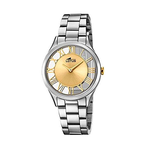Reloj Lotus Trendy Mujer 18395-2 Acero con esfera dorada y semi transparente