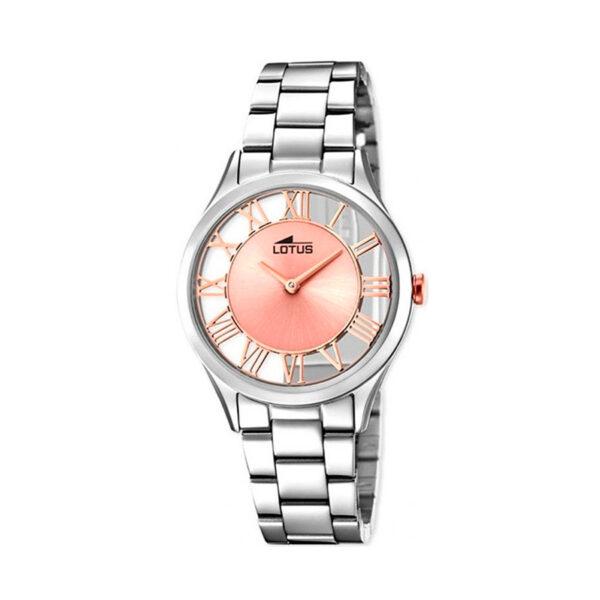 Reloj Lotus Trendy Mujer 18395-3 Acero esfera rosada semi transparente