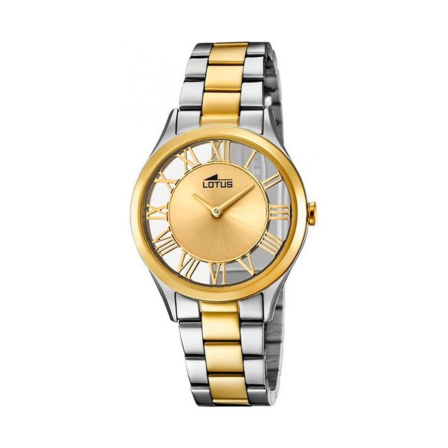 Reloj Lotus Trendy Mujer 18396-1 Acero bicolor dorado y plata con esfera diseño semi transparente e índices romanos