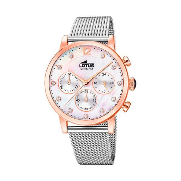 Reloj Lotus Trendy Mujer 18788-1 Acero rosado con esfera nácar y correa malla milanesa plata