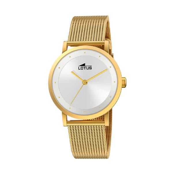 Reloj Lotus Trendy Mujer 18791-1 Acero dorado esfera blanca y correa malla milanesa dorada